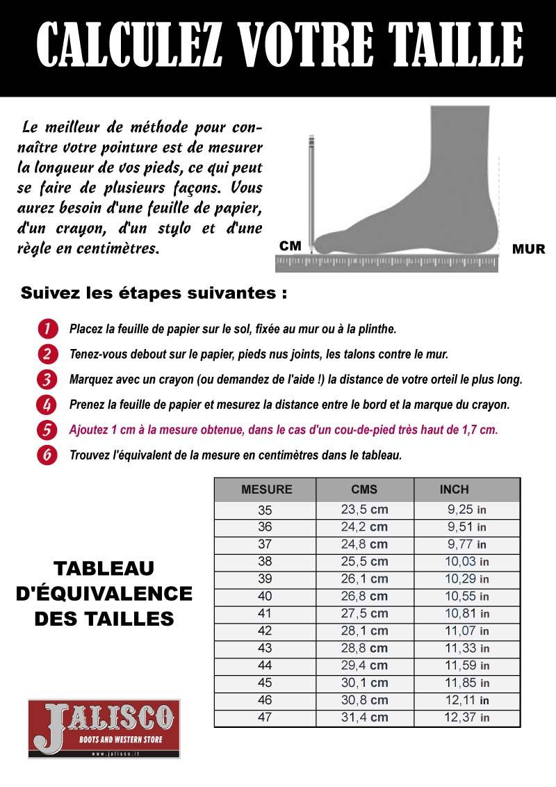 Calculez votre taille la tua misura