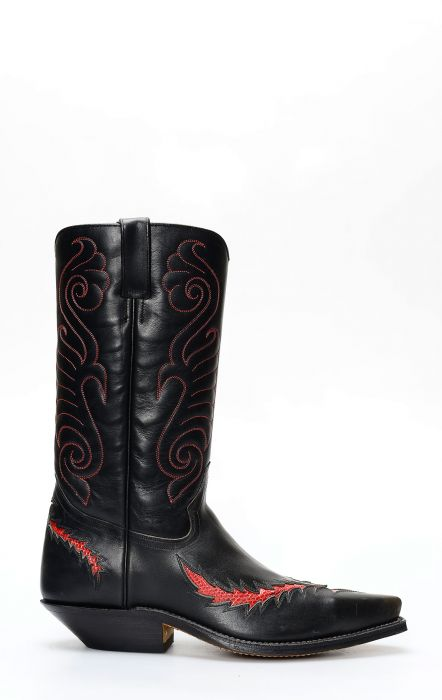 Black Tony Mora boots with red lizard inserts