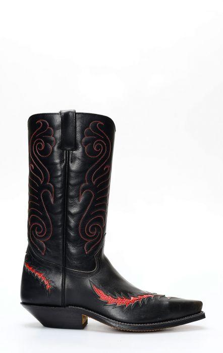 Stivali Texani Tony Mora nero con inserti in lucertola rossi