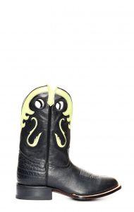 Stivali Texani Jalisco nero e inserti verdi con punta rotonda
