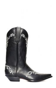 Stivali Jalisco ricamati in pelle grassa nera