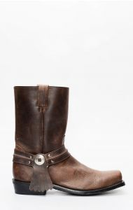 Jalisco biker boots for men in dark brown greasy leather
