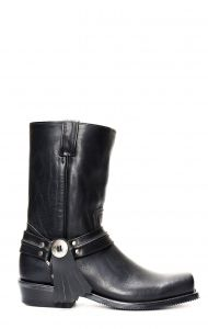 Jalisco biker boots in black leather with conchos
