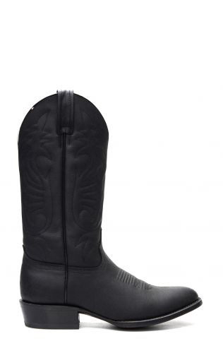 Jalisco Boots, Black Greasy Leather