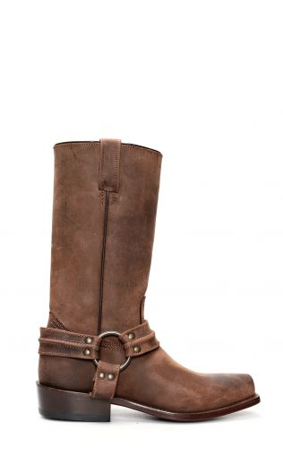 Dark brown Jalisco biker boots with thin square toe