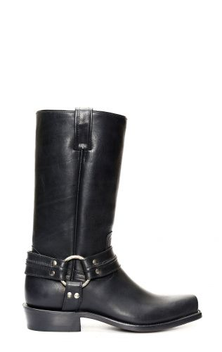 JALISCO BOTTES BLACK GREASY LEATHER, FINE BIKER ST