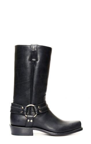 Jalisco Boots Black Greasy Leather, Fine Biker Sty
