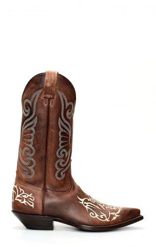 Stivali Jalisco marrone con classico ricamo bianco