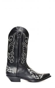 Black Jalisco boots with classic white embroidery