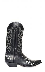 Stivali Jalisco nero con classico ricamo bianco
