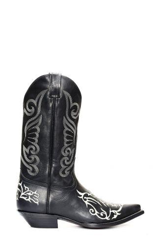 Bottes Jalisco noires avec broderies blanches classiques