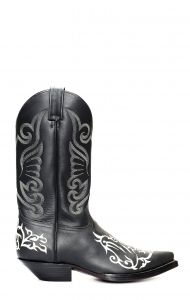Black Jalisco boots with classic contrast white embroidery