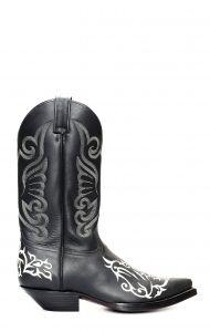 Stivali Jalisco nero con classico ricamo bianco a contrasto