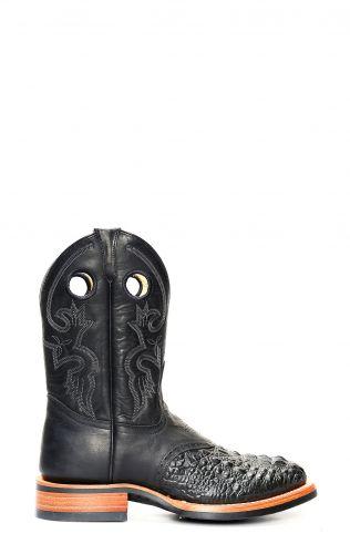 Stivali Jalisco da lavoro neri stampato coccodrillo