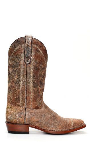Stivali Jalisco con punta squadrata e pelle invecchiata marrone
