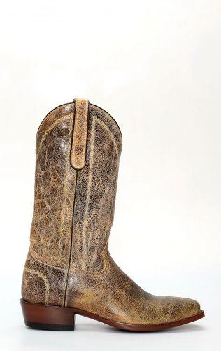 Stivali Jalisco con punta squadrata e pelle invecchiata chiara