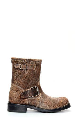 Jalisco biker boots in dark brown aged leather