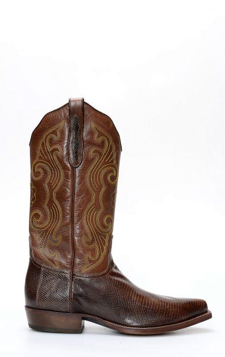 Tony Mora boots in brown lizard skin