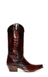 Stivali Tony Mora in pelle di anguilla marrone