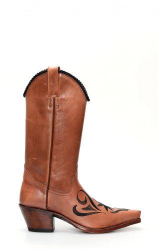 Stivali Texani Tony Mora marrone con ricamo a contrasto