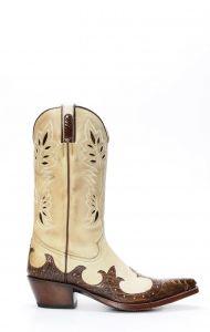 Stivali Texani Tony Mora in nubuk e gamba di struzzo