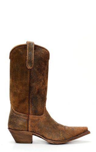 Bottes Jalisco non doublées en cuir inversé marron foncé