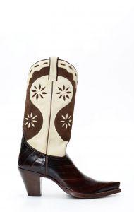 Tony Mora boots in brown eel