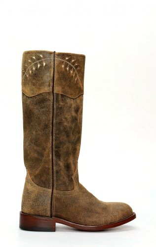Jalisco boots in brown reversed leather in camperos style