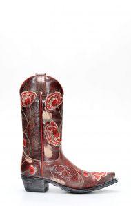 Stivali Sendra donna vintage rosso floreale