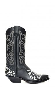 Black Jalisco boots with contrasting white embroidery