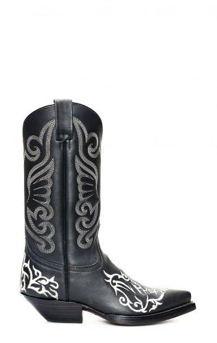 Stivali Jalisco nero con ricamo bianco a contrasto
