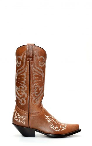 Shiny brown Jalisco boots with embroidery