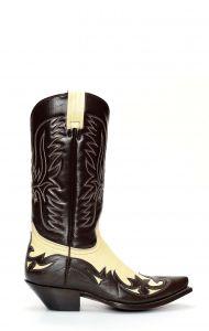 Stivali Jalisco stile Texano bicolore marrone/panna