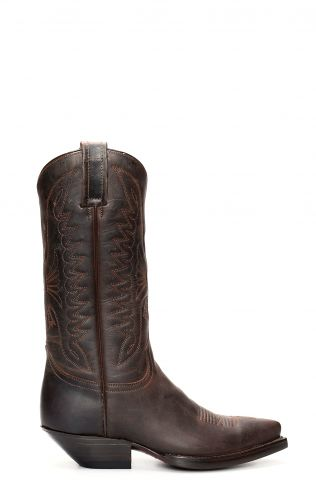 Textured dark brown pointed jalisco boots