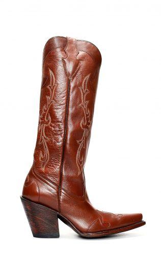 Stivali Jalisco in pelle giovane marrone con tacco e gambale alto