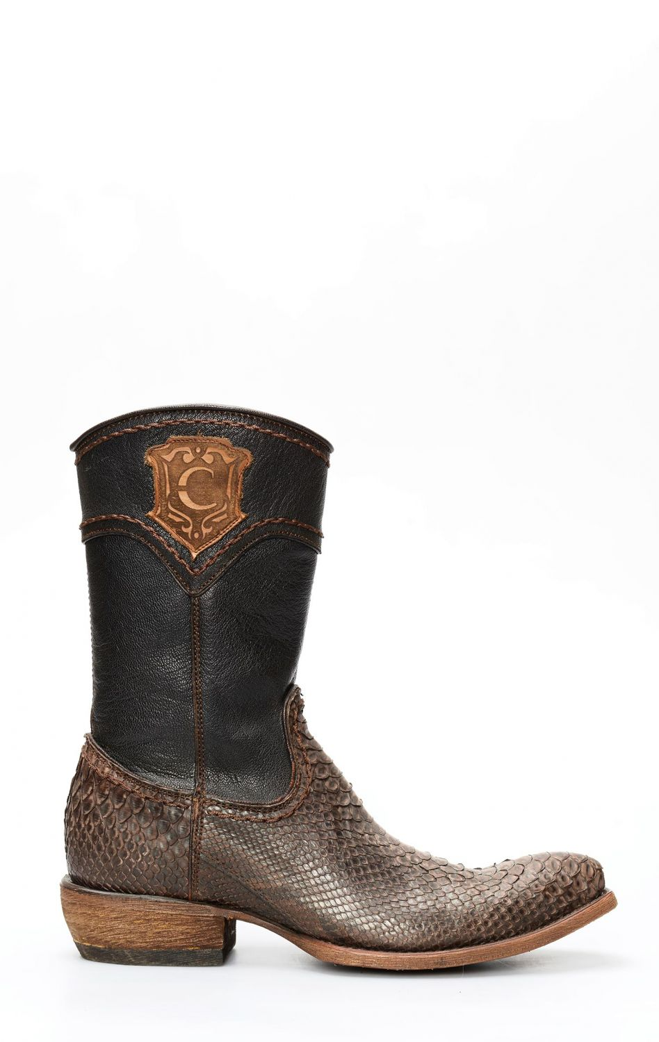 f5192aa7359 Cuadra ankle boot in opaque brown python leather and zipper | 2D02PHFB