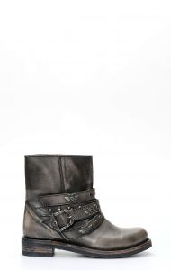 Liberty Black biker boot with studs and straps