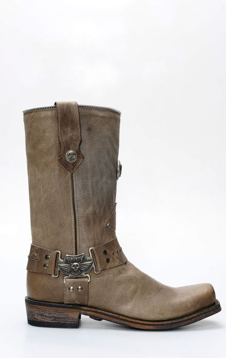 Liberty Black biker boots with square toe