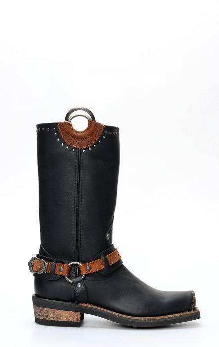 Bottes Liberty noires en cuir noir avec lanière et bout carré