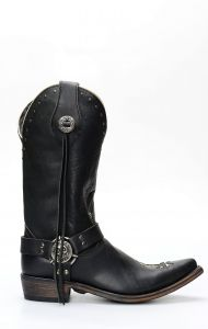 Liberty Black biker boots with skull-shaped insert