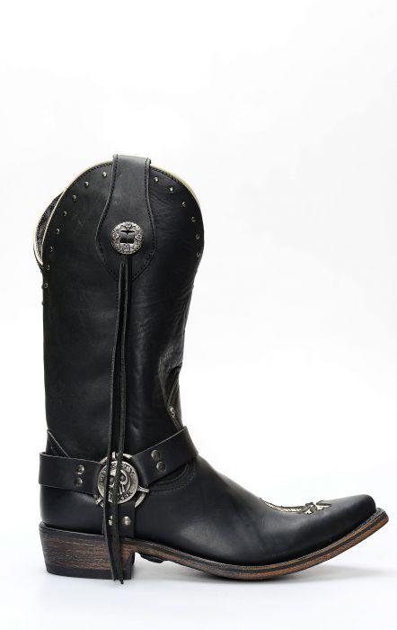 Liberty Black biker boots with skull-shaped insert