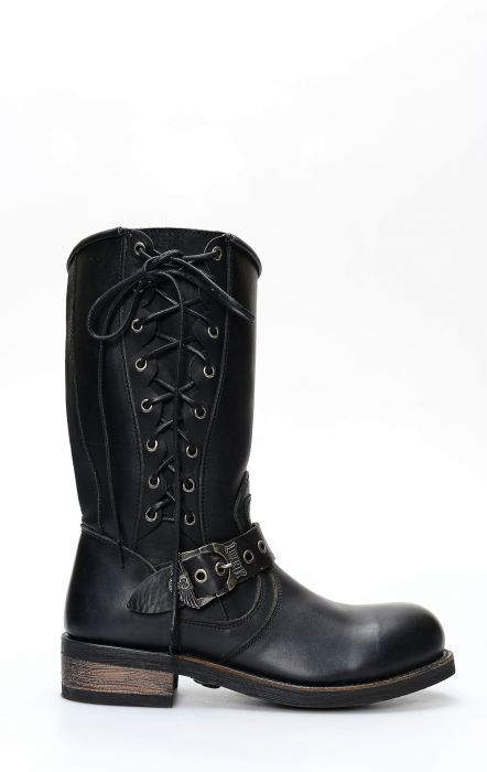 Liberty Black biker boots with side laces