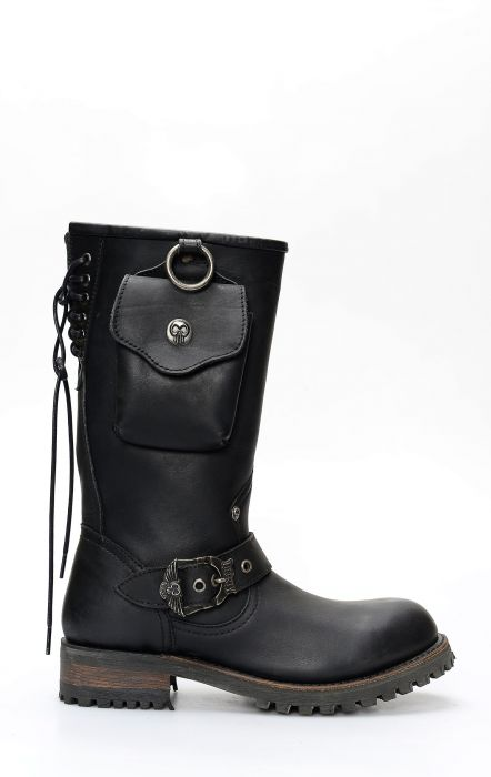 Liberty Black biker boots with side pocket