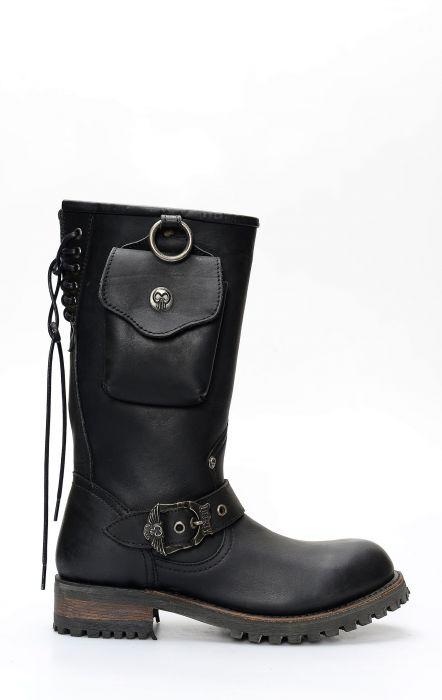 Liberty Black biker boots with side pocket