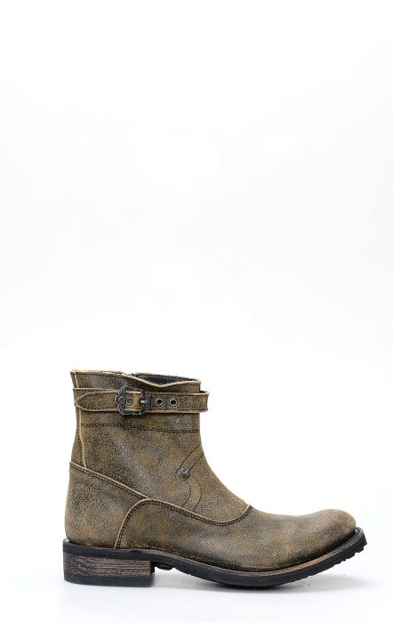 Liberty Black biker boot in inverted leather with zip