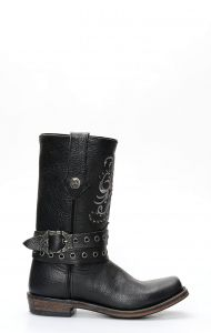 Liberty Black biker boots with square toe and strap and embroidery