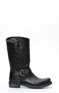 Liberty Black biker boots with quilted upper
