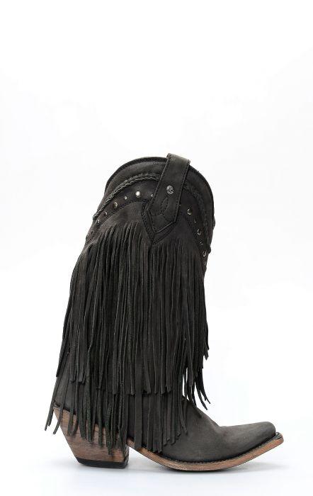 Bottes Liberty noires à franges vegas noires