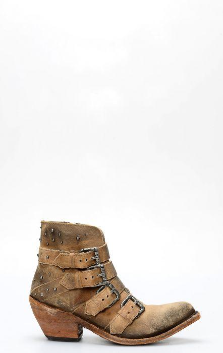 Stivali Liberty Black corto con zip e cinghie american tan