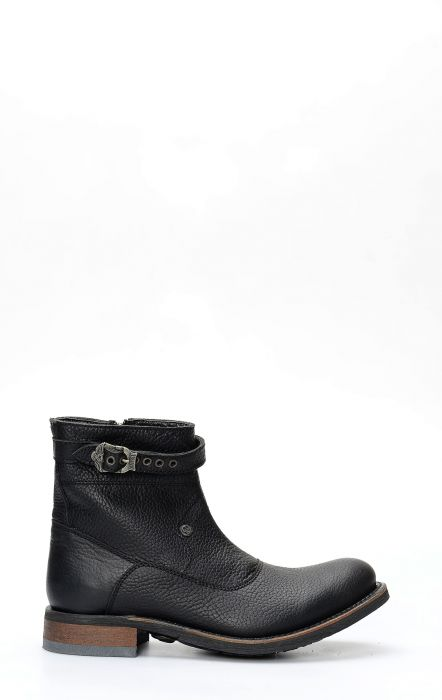 Liberty Black biker boot with black zip